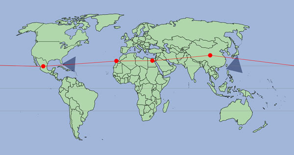Map of the World with a connecting line drawn across